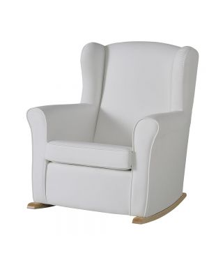 Butaca Nursing Chair in Leatherette Upholstery - White with Natural Rocking Base