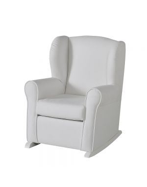 Butaca Nursing Chair in Leatherette Upholstery - White with White  Rocking Base