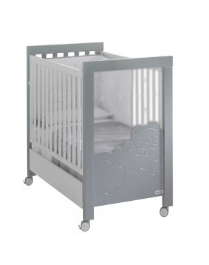 Dolce Luce Cot with Led's and Reclining Mattress Base - White and Grey