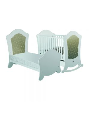 Big Alexa Cotbed (With Reclining Mattress Base) - White and Gold