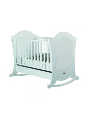 Alexa Cot (With Reclining Mattress Base) - White and Silver