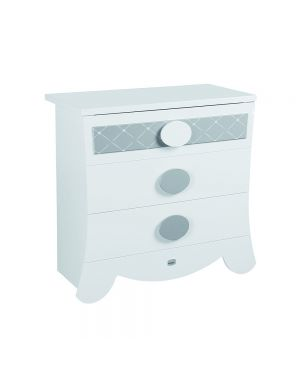 Alexa Chest of Drawers - White and Silver