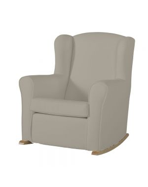 Butaca Nursing Chair in Leatherette Upholstery - Beige with Natural Rocking Base