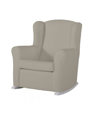 Butaca Nursing Chair in Leatherette Upholstery - Beige with White Rocking Base