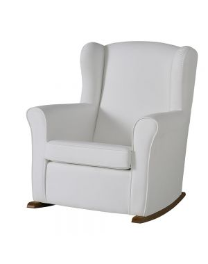 Butaca Nursing Chair in Leatherette Upholstery - White with Dark Wood Rocking Base