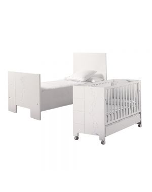 Juliette Luxe Relax Cot and Reclining Mattress Base (With Swarovski Elements) - White