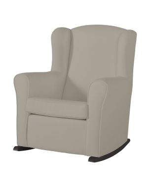 Butaca Nursing Chair in Leatherette Upholstery - Beige with Dark Rocking Base
