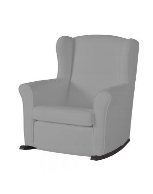 Butaca Nursing Chair in Leatherette Upholstery - Grey with Dark Rocking Base