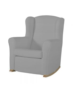 Butaca Nursing Chair in Leatherette Upholstery - Grey with Natural Rocking Base