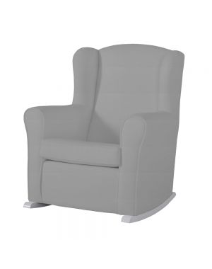 Butaca Nursing Chair in Leatherette Upholstery - Grey with White  Rocking Base