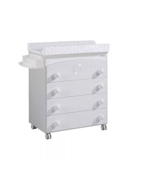 Valeria Baby Changing Unit (With Swarovski Crystals) - White